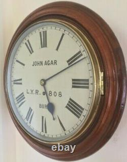 Antique Eight Day Rare High Quality LYR Railway Clock, Two Year Guarantee