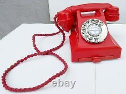 Red 1950s Bakelite Telephone, Newly Refurbished, Working, 1 year guarantee