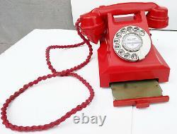 Rouge 1950 Bakélite Téléphone, Récemment Rénové, Travailler, Garantie 1 An